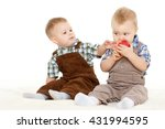 two little boys with fresh... | Shutterstock . vector #431994595