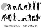 cleaning silhouettes black | Shutterstock .eps vector #431995711