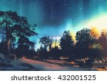 star field above the trees in... | Shutterstock . vector #432001525