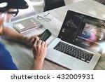 designer hand working in... | Shutterstock . vector #432009931
