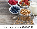 glass jar with granola  milk ... | Shutterstock . vector #432010351