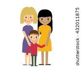 female gay family with child.... | Shutterstock . vector #432011875