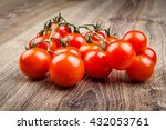 cherry tomatoes on the wooden... | Shutterstock . vector #432053761