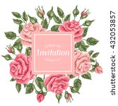 invitation card with vintage... | Shutterstock .eps vector #432053857