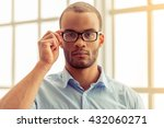 portrait of handsome serious... | Shutterstock . vector #432060271