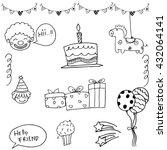 birthday set doodle... | Shutterstock .eps vector #432064141
