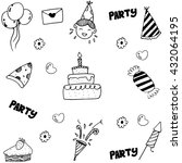 doodle for kids birthday party... | Shutterstock .eps vector #432064195