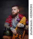 tattooed bearded male in red... | Shutterstock . vector #432065341