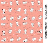 Stock vector cute seamless pattern with cats 432066385