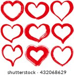 set of red hearts. hand drawn... | Shutterstock .eps vector #432068629