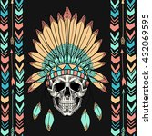 skull with indian feather hat.... | Shutterstock .eps vector #432069595