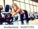 sporty blond female exercising...   Shutterstock . vector #432071791