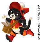 cartoon cat running with a bag...   Shutterstock . vector #432077545