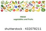watercolor organic food... | Shutterstock . vector #432078211