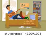 happy father's day greeting... | Shutterstock .eps vector #432091075
