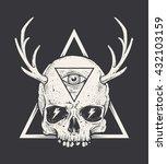 bizarre art of skull with horns ... | Shutterstock .eps vector #432103159