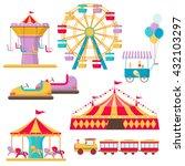 amusement park elements. ferris ... | Shutterstock .eps vector #432103297