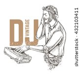 steampunk style dj illustration ... | Shutterstock .eps vector #432103411