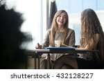 portrait of two beautiful young ... | Shutterstock . vector #432128227