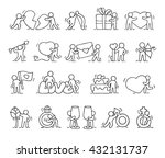 cartoon romantic icons set of... | Shutterstock .eps vector #432131737