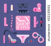 Stock vector sex shop vector icons design elements for sex toys industry bdsm vector symbols 432135031