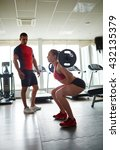 woman in gym training with... | Shutterstock . vector #432135379