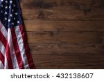 Usa Flag On Wooden Wall Texture