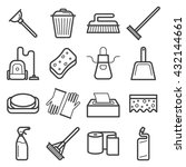 line art icons of home cleaning ... | Shutterstock .eps vector #432144661