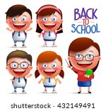 students and teacher vector... | Shutterstock .eps vector #432149491