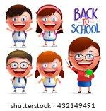 students and teacher vector... | Shutterstock .eps vector #432149491