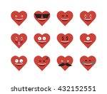 set of heart  flat icon vector...
