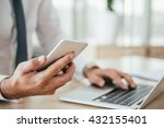 businessman using smart phone... | Shutterstock . vector #432155401