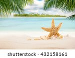 sandy tropical beach with palm... | Shutterstock . vector #432158161