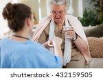 nurse giving medicines and... | Shutterstock . vector #432159505