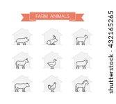 line set of farm animals.... | Shutterstock .eps vector #432165265