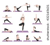 yoga postures exercises set.... | Shutterstock .eps vector #432165631