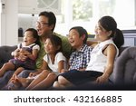 family sitting on sofa at home... | Shutterstock . vector #432166885
