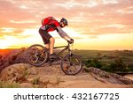 cyclist riding the bike down... | Shutterstock . vector #432167725