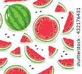 slice of watermelon. seamless... | Shutterstock .eps vector #432176431