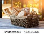 wicker basket with bread. bread ... | Shutterstock . vector #432180331