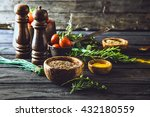 vegetables on wood. bio healthy ... | Shutterstock . vector #432180559