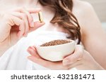 woman hand holding bowl of flax ... | Shutterstock . vector #432181471
