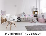 spacious bedroom of baby girl.... | Shutterstock . vector #432183109