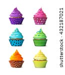 colorful cupcakes isolated on a ... | Shutterstock . vector #432187021