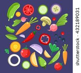 vegetable salad ingredients... | Shutterstock .eps vector #432189031