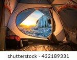 Sunrise Inside A Tent. Camping...