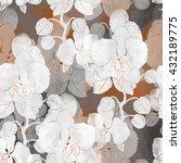 imprints orchids. seamless...   Shutterstock . vector #432189775