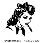 retro young woman smocking joint | Shutterstock .eps vector #432192421