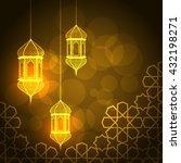 ramadan greeting card on orange ... | Shutterstock . vector #432198271