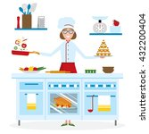 female chef cooking on white... | Shutterstock .eps vector #432200404